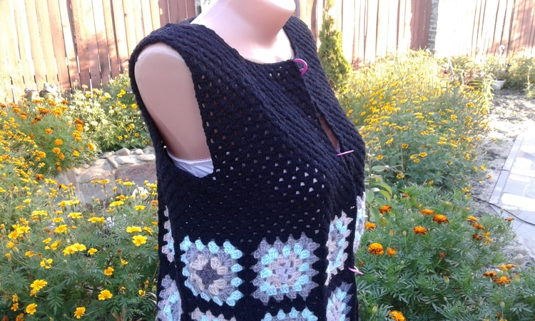 Кардиган из квадратных мотивов Часть 3 Вывязывание спинки и полочек Knitting women's cardigan