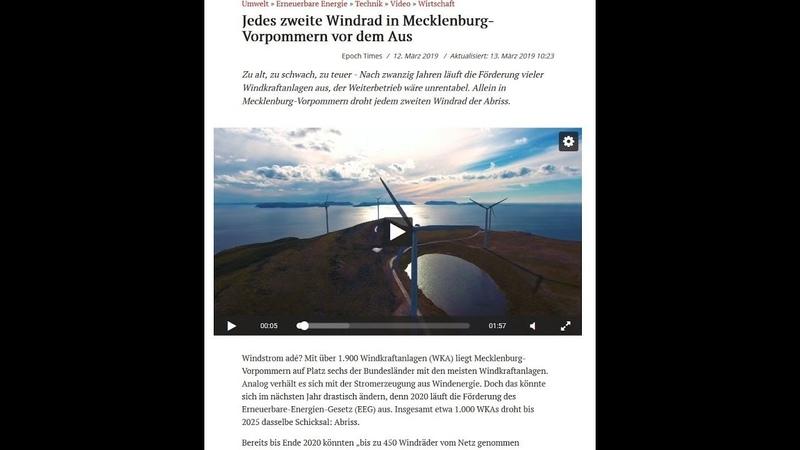 AUS für das Windkraft Geschäftsmodell in Mecklenburg-Vorpommern ?