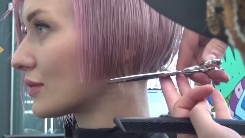 Стрижка КАРЕ БОБ окрашивание волос в РОЗОВЫЙ БЛОНД. Обучение парикмахеров Артем Любимов.