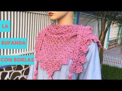 Bufanda Multiusos con Borlas Tejida en Crochet