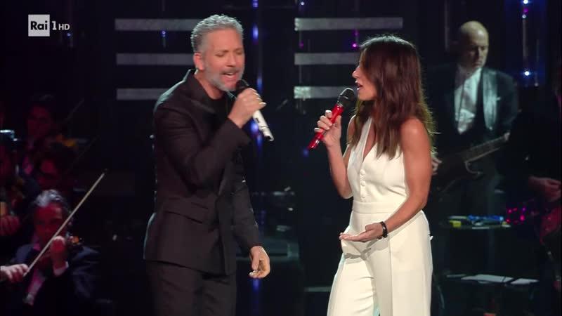 Paola Turci con Beppe Fiorello L'ultimo ostacolo Sanremo 2019 Serata di duetti