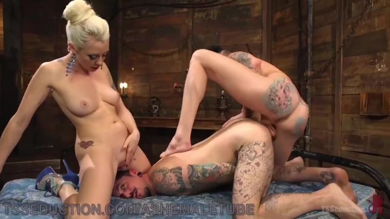 Wild Threesome For Wannabe Playboy (Красотки Shemale, Трансы TS Ladyboy Трапы Sissy Trap
