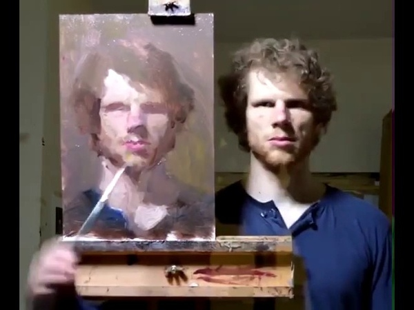 Художник Ewan McClure рисует автопортрет в отражение зеркала