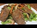 Тёплый салат с телятиной!Красивый, яркий и очень вкусный салат!