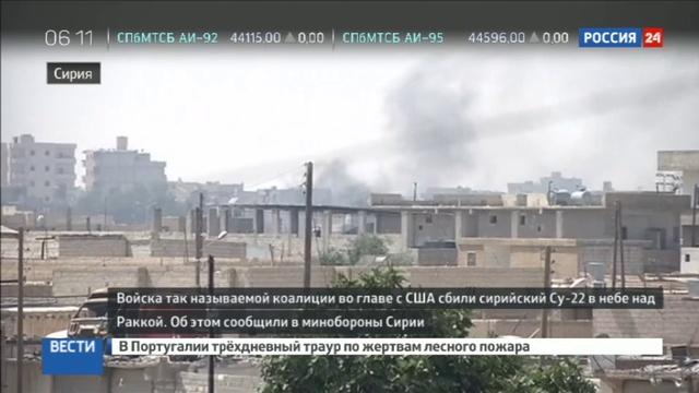 Новости на Россия 24 • Коалиция США сбила истребитель сирийских ВВС