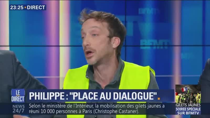 Couderc (Gilet Jaune) appelle à l'Acte V samedi prochain et les week-ends suivants (BFMTV,08/12/18).
