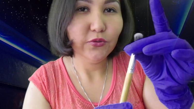 АСМР ASMR кисточковый массаж лица прикосновения шуршание шепот