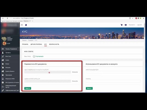 Верификация аккаунта OneLife по росийскому паспорту