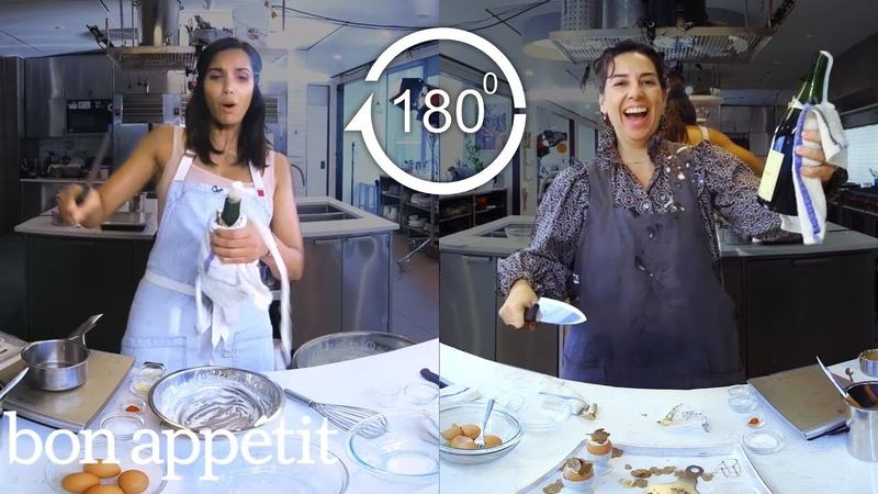 Padma Lakshmi Tries to Keep Up with a Professional Chef | Back-to-Back Chef | Bon Appétit