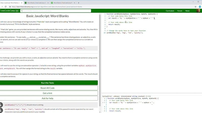 35/107 FCC Basic JavaScript: Word Blanks