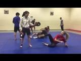 Taekwondo training with Paul Green and Gareth Brown.