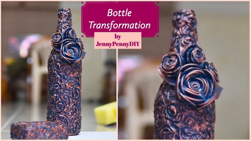 Beautiful bottle Decoration|Pattern Making|Texture Making|Antique look|Vintage look|Wine Bottle