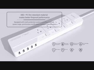 ORICO OSJ-4A5U-EU 4 розетки переменного тока 5 портов USB Настольное зарядное устройство Многофункциональная электрическая розет
