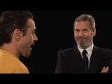 Iron Man Robert Downey Jr and Jeff Bridges rehearse a scene