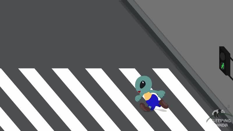 зеленый человечек бежит через дорогу