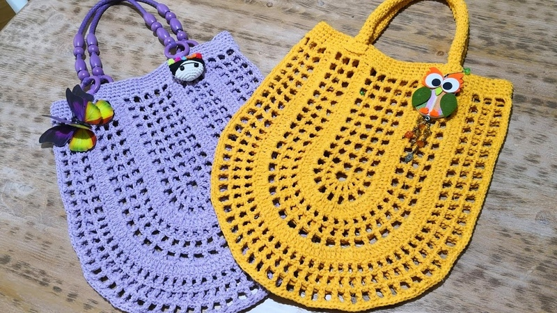 Oval File Çanta Yapımı Crochet Market Bag Tutorial (Eng. Subt.)