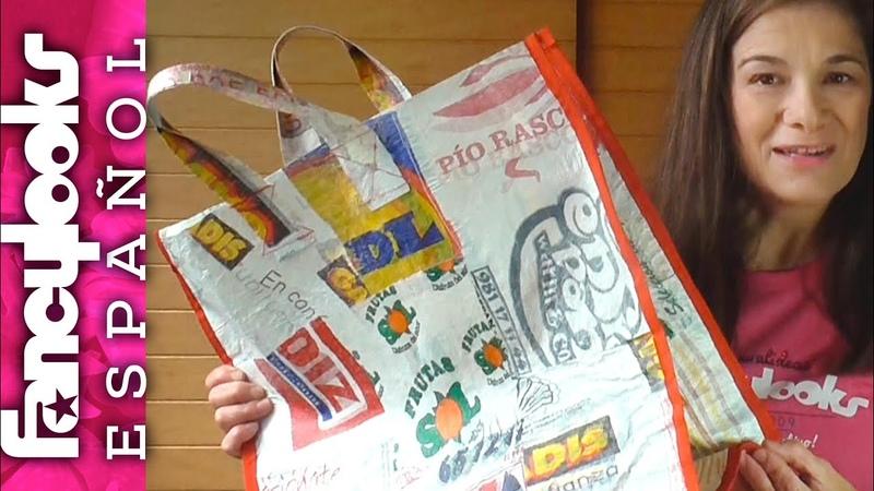 Cómo hacer una Bolsa grande reciclando bolsas supermercado