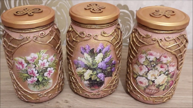 4 DIY decor | Recycled glass jars|Decoupage of Kitchen Cans