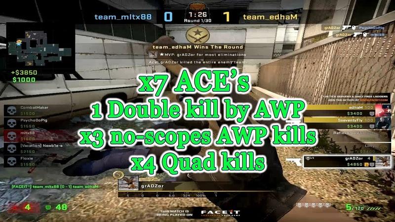 Moments of the week Ep. 19 @ x6 Ace's, x2 4K's awp double kill no scopes triple kill @ grADZor