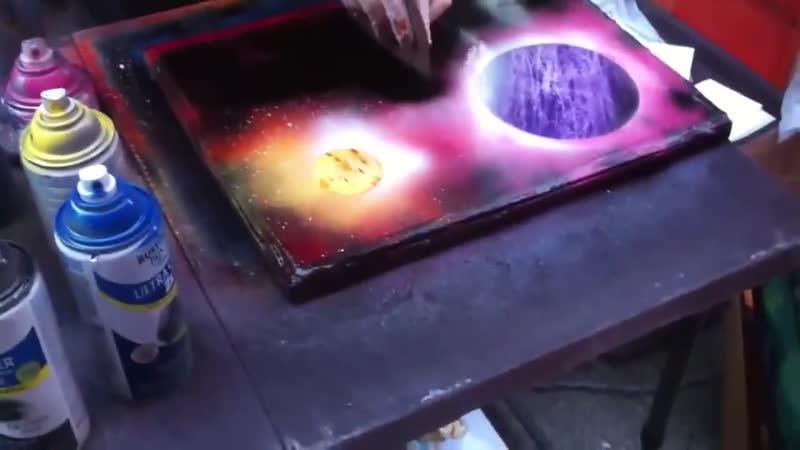 Крутая картина нарисованная баллончиками с краской