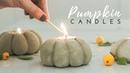 Easy Pumpkin Candle DIY mini concrete pumpkins for FALL DECOR