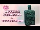 BOTELLA DECORADA CON FLORES DE GOMA EVA COLABORACION