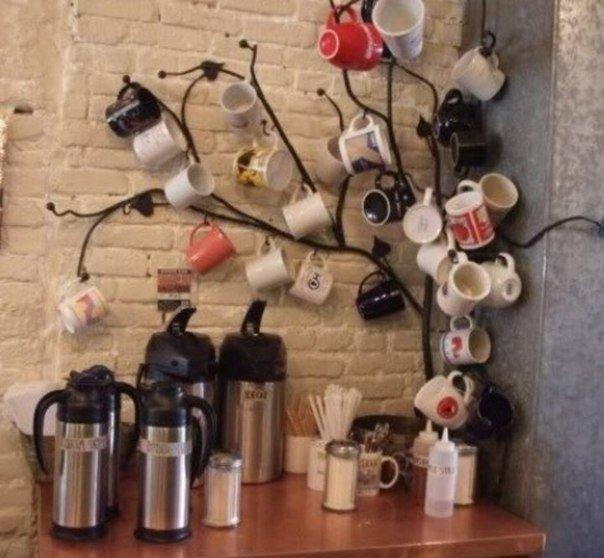 Идеи декора кухни кружками