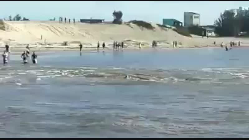 БРАЗИЛИЯ...внезапно возникший гигантский водоворот глотает купальщиков на пляже Barra de planta , Río Tramandai ...