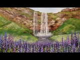 Waterfall Landscape with Lupine Wildflowers Acrylic Painting LIVE