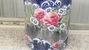 Reciclando Pote de Vidro Decorado Rosas Delicadas