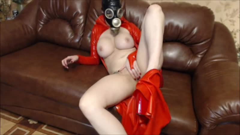 Strip with rubber dress and gas mask