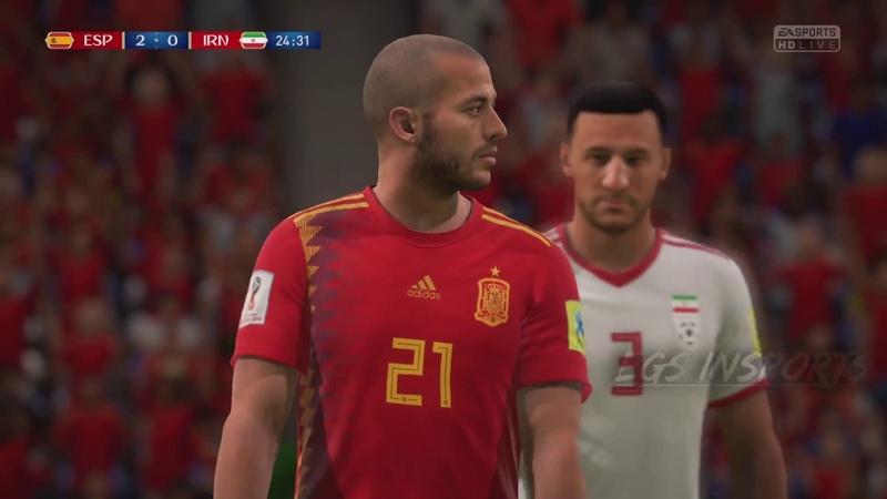 SPAIN vs IRAN - Fifa18 - world cup GROUP B - Gameplay 20/6/18