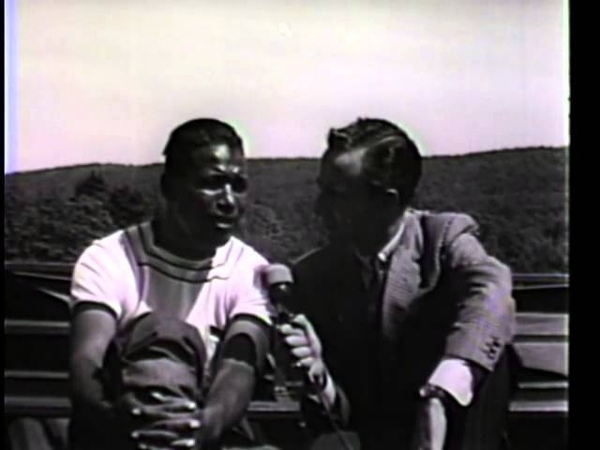 Sugar Ray Robinson in training sparring and an interview with Chris Schenkel Carmen Basilio fight
