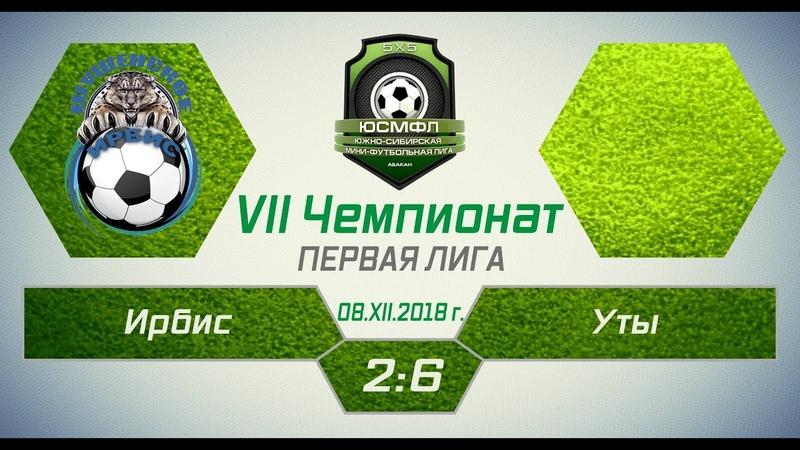 VII Чемпионат ЮСМФЛ. Первая лига. Ирбис - Уты 2:6, 08.12.2018 г. Обзор