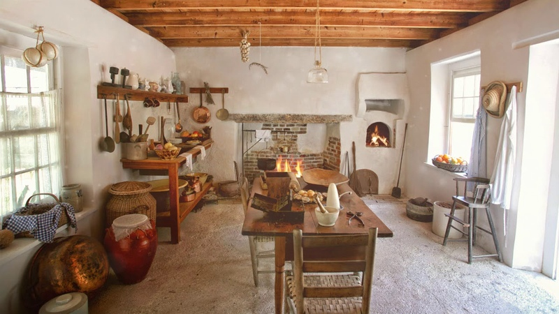 Ambience/ASMR: 17th Century Summer Kitchen with Fireplace Bread Oven, 5 Hours