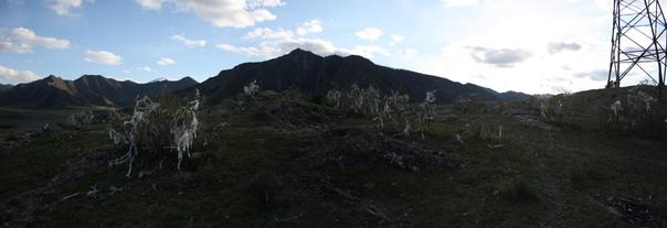 На месте слияния Чуи и Катуни тоже очень много этих белых лоскутов.