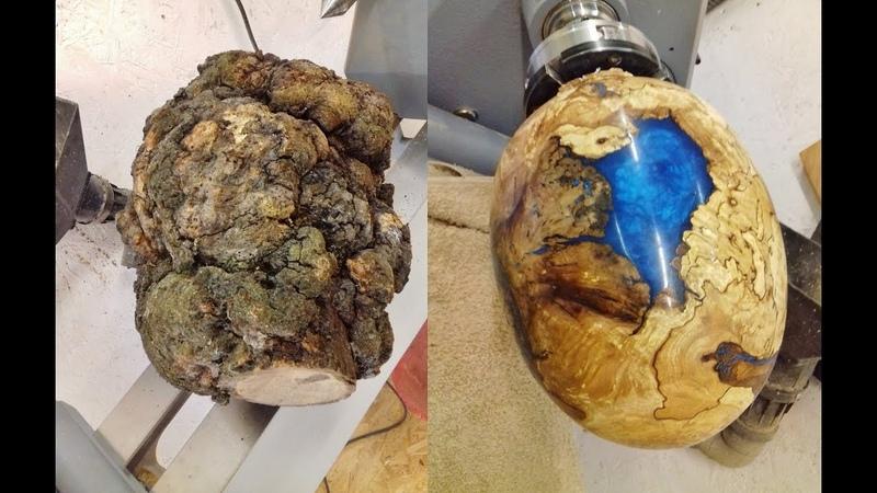 Woodturning - One Big Ugly Burl into a dragon egg !!
