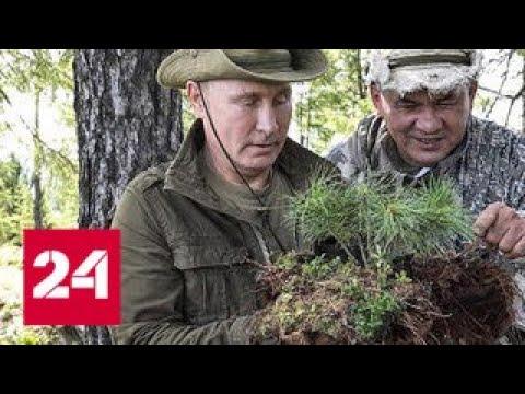 Выходные на природе Путин Шойгу и Бортников прогулялись по тувинской тайге Россия 24