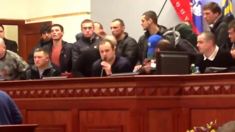 Донецк. 3 марта, 2014. Губарев и Семенченко в захваченном ОГА.