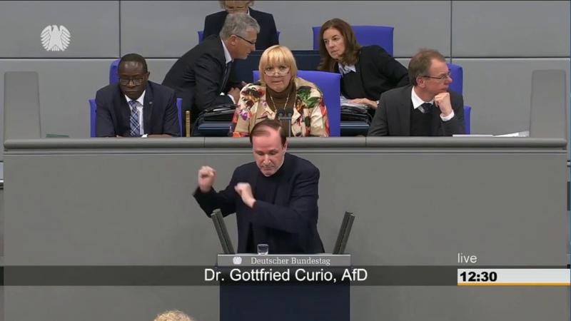 Dr. Gottfried Curio (AfD) spricht im Bundestag und die Altparteien schreien vor Wut. 29.11.2018