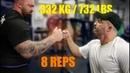 Hafthor Bjornsson LAST HEAVY SQUAT SESSION BEFORE WSM 2019 332kg 732lbs for 8 reps 2 sets