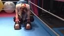 Mixed kick boxing, professional female kick boxer vs 15 years old boys