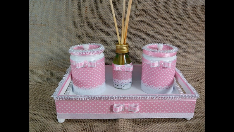 Latas decoradas com tecido Kit Higiene