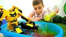 Трансформеры Прайм Бамблби заржавел Видео с игрушками