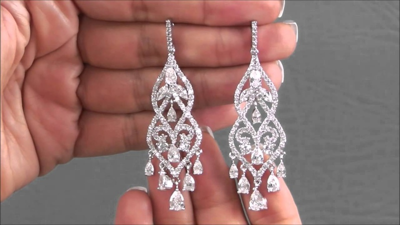 Wedding Earrings with Delicate Chandelier