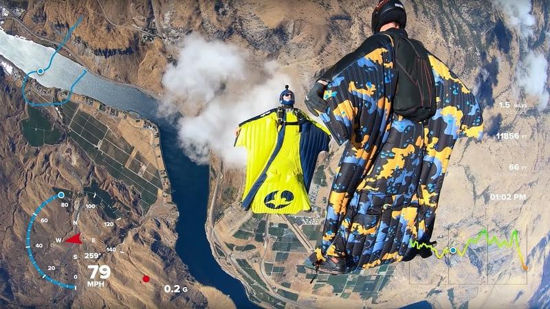 GoPro Hero 6 Black - 4K 60fps Footage with Gauges - 6-way Wingsuit (RAW)