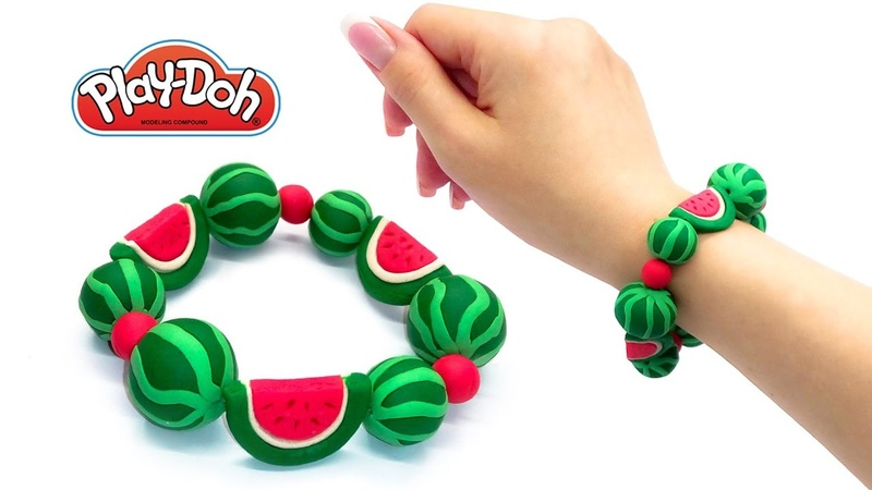 Play Doh Surprise Crafts. DIY Gift. How to Make Playdoh Colorful Clay Bracelet with Melon Fruits