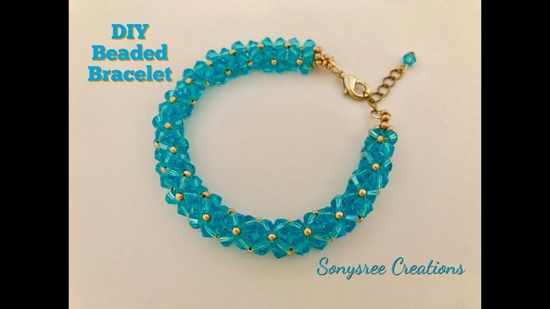 Aqua Bracelet. DIY Beaded Bracelet.Bicone Bracelet. How to make beaded bracelet