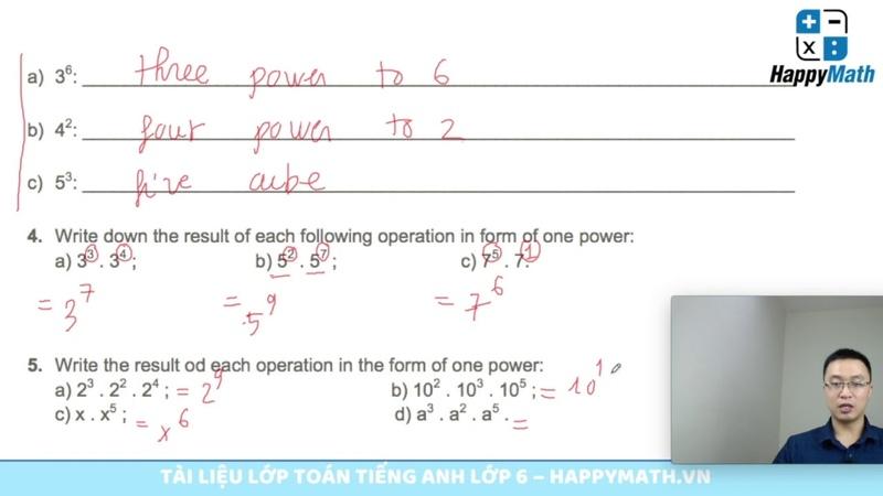 Bài Tập Toán Tiếng Anh 6 - Lớp Học Điện Tử - Exponent