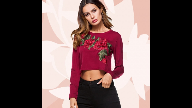 Floral Embroidered Embellished Long Sleeve Crop T-Shirts
